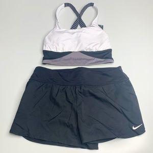 Nike Swim / Workout Two Piece Black White Gray M